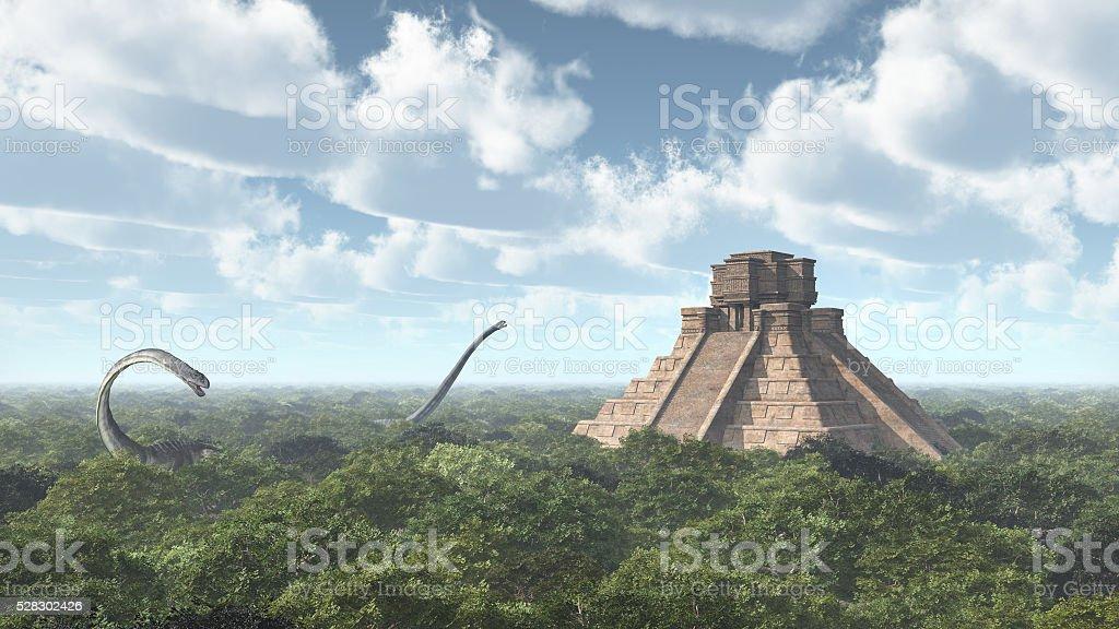 Dinosaur Omeisaurus and Mayan temple stock photo