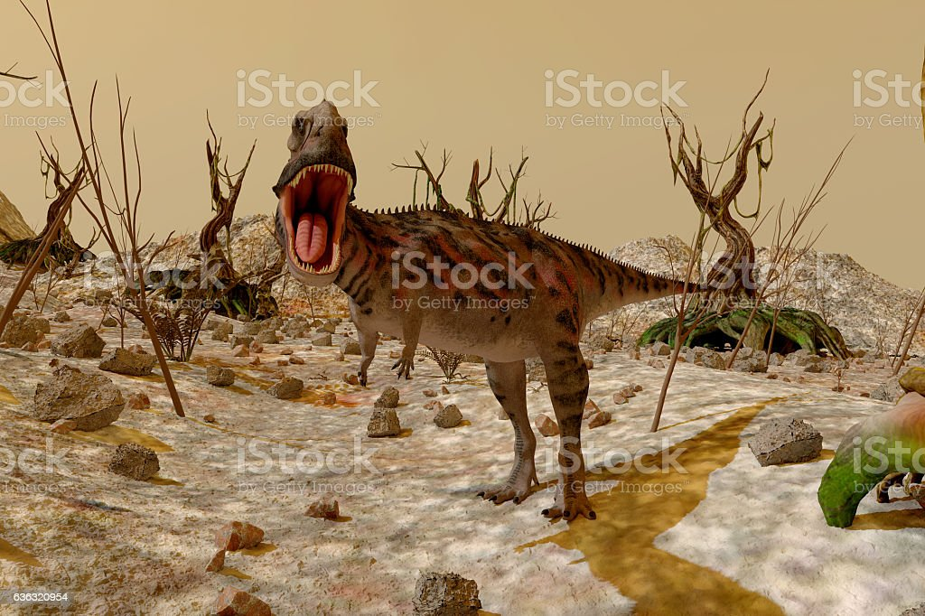 Dinosaur. Prehistoric Jungle, landscape, valley with Dinosaurs. 3d render stock photo