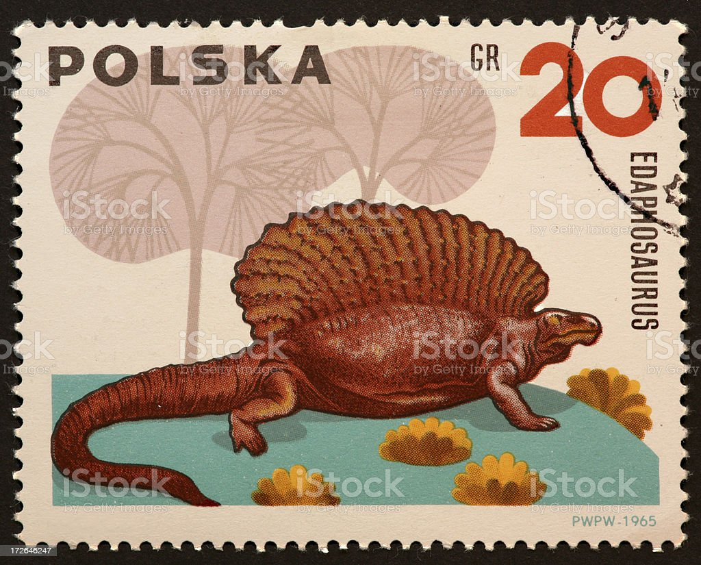dinosaur stamp Edaphosaurus. stock photo