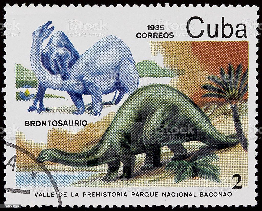 Dinosaur stamp stock photo