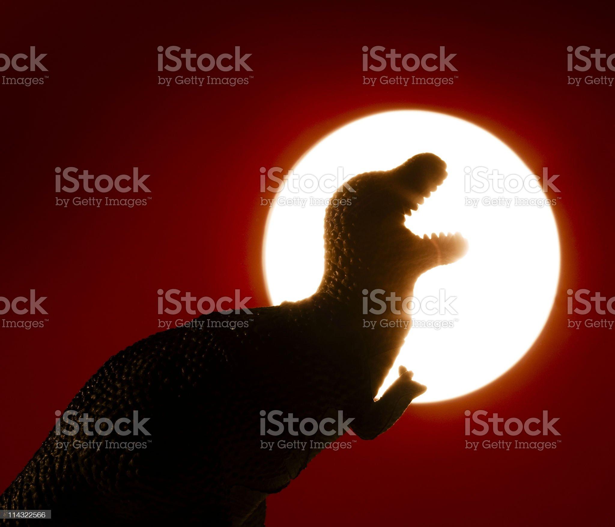 Dinosaur sunset royalty-free stock photo