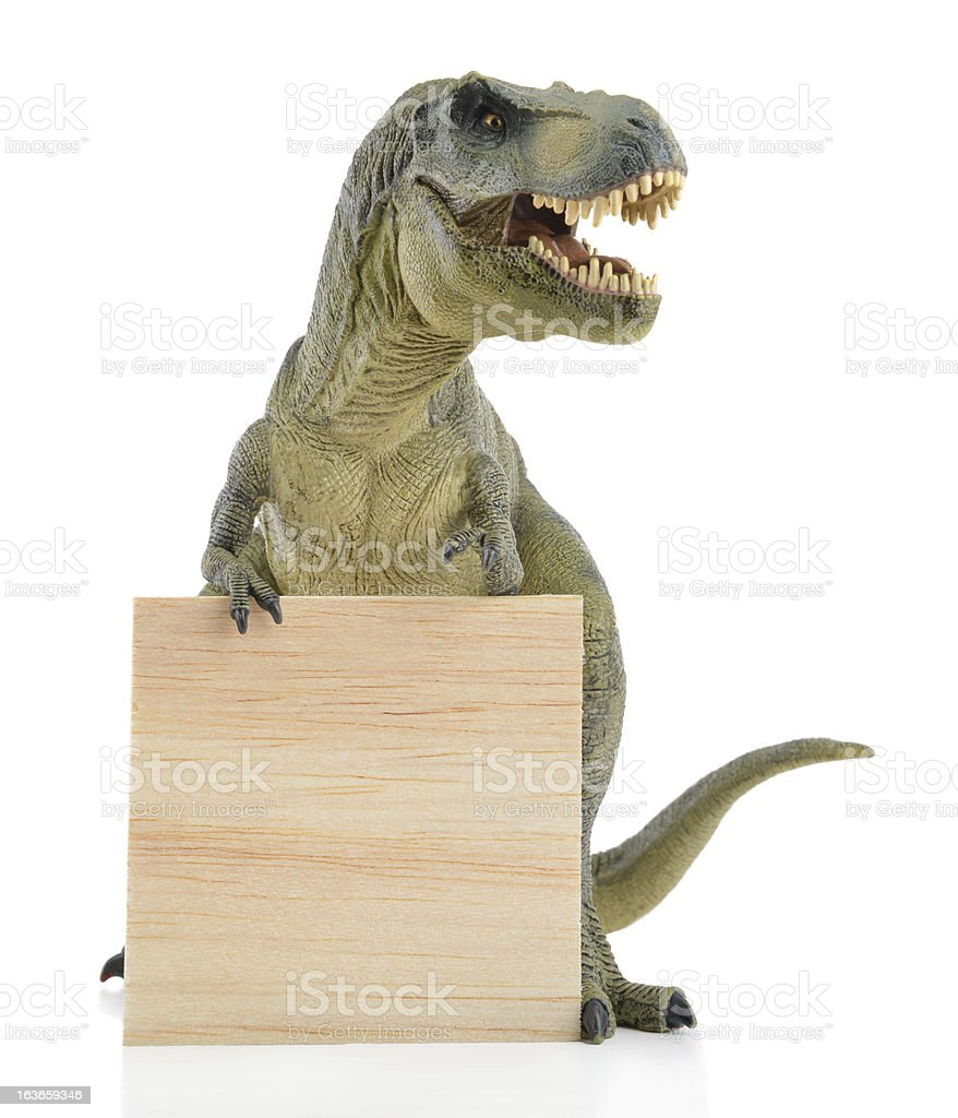 Dinosaur with Wood Board stock photo