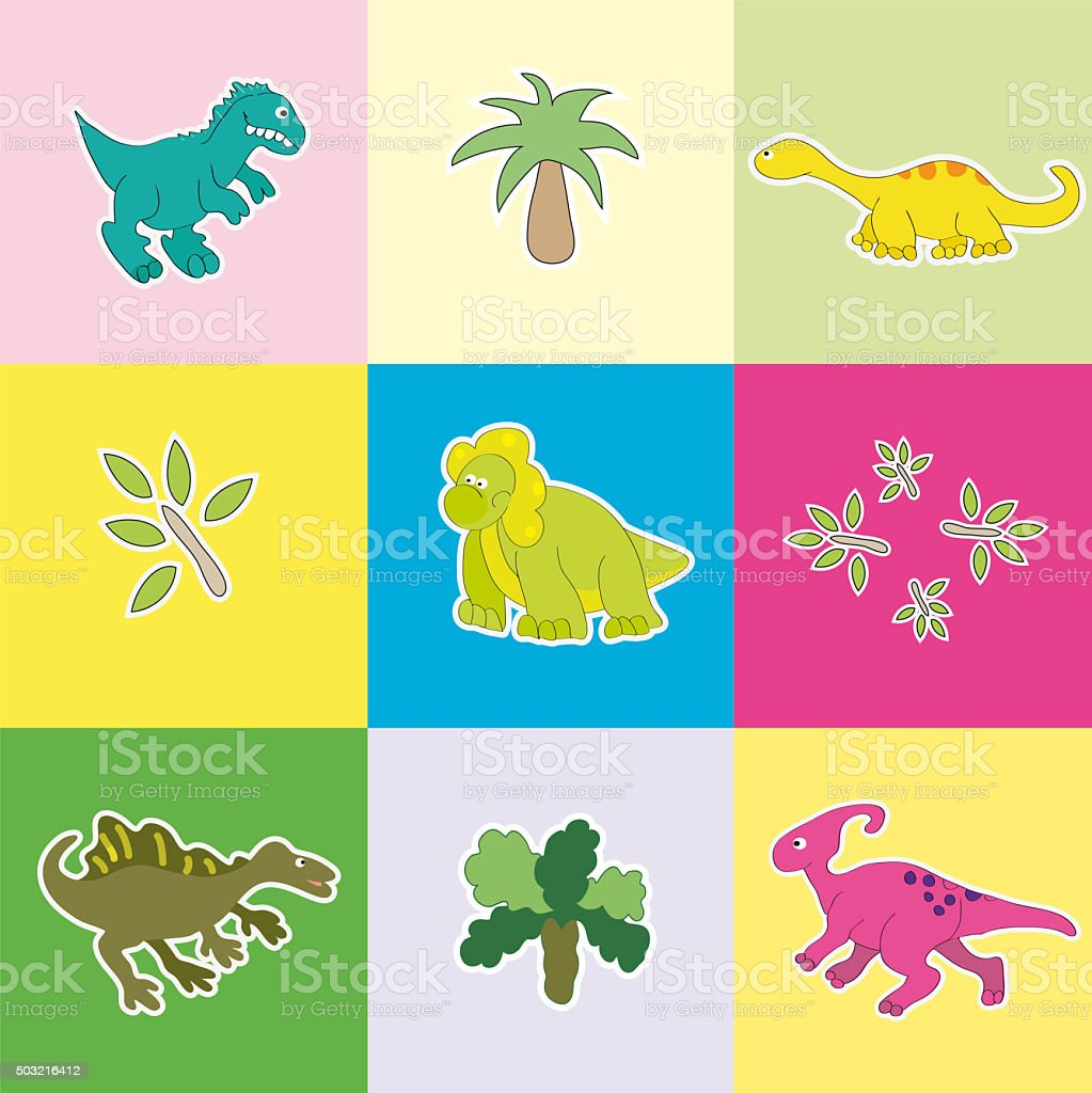 Dinosaurs in colored rectangles. stock photo