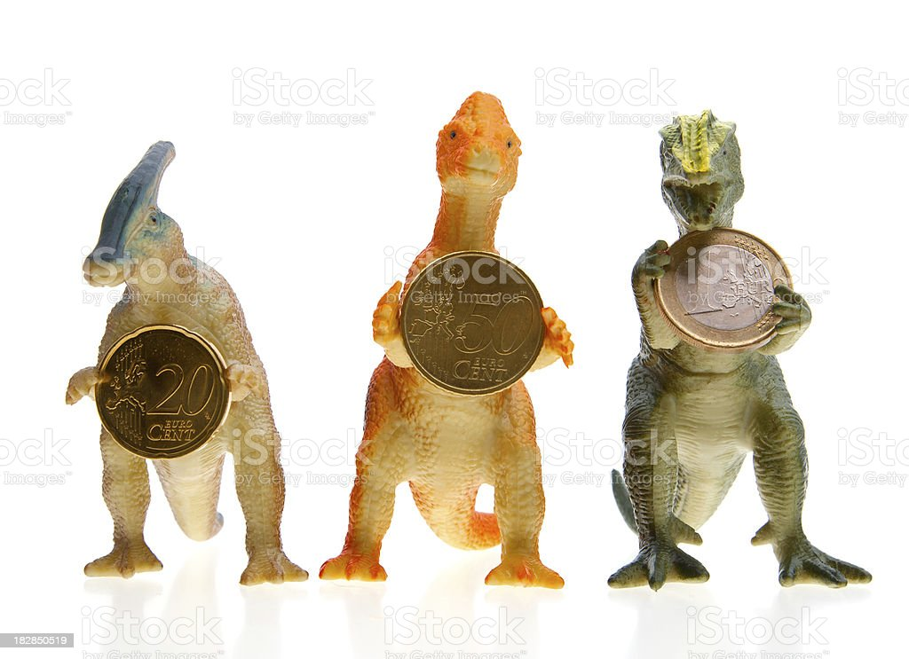 dinosaurs with money royalty-free stock photo