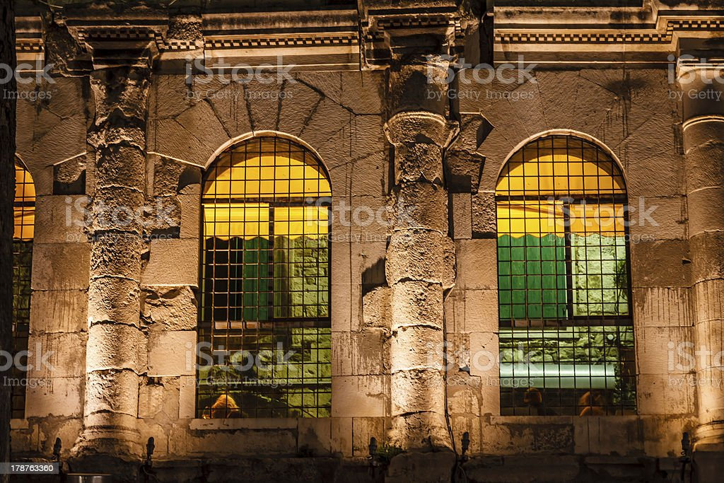 Diocletian Palace Illuminated Windows at Night, Split, Croatia royalty-free stock photo