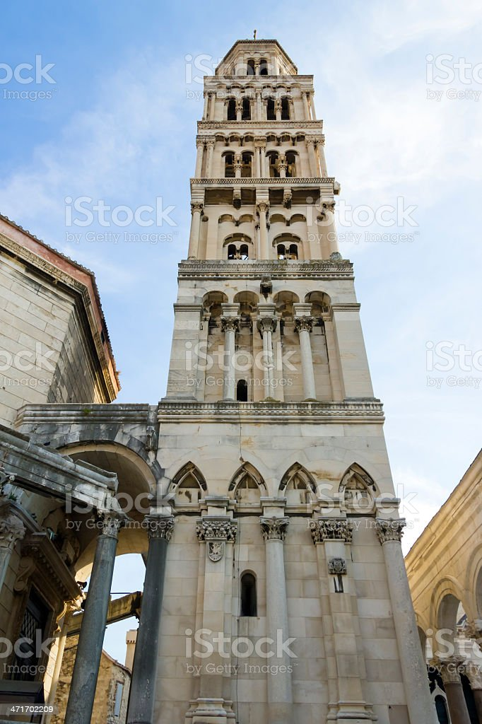 Diocletian palace ruins and cathedral bell tower, Split, Croatia royalty-free stock photo
