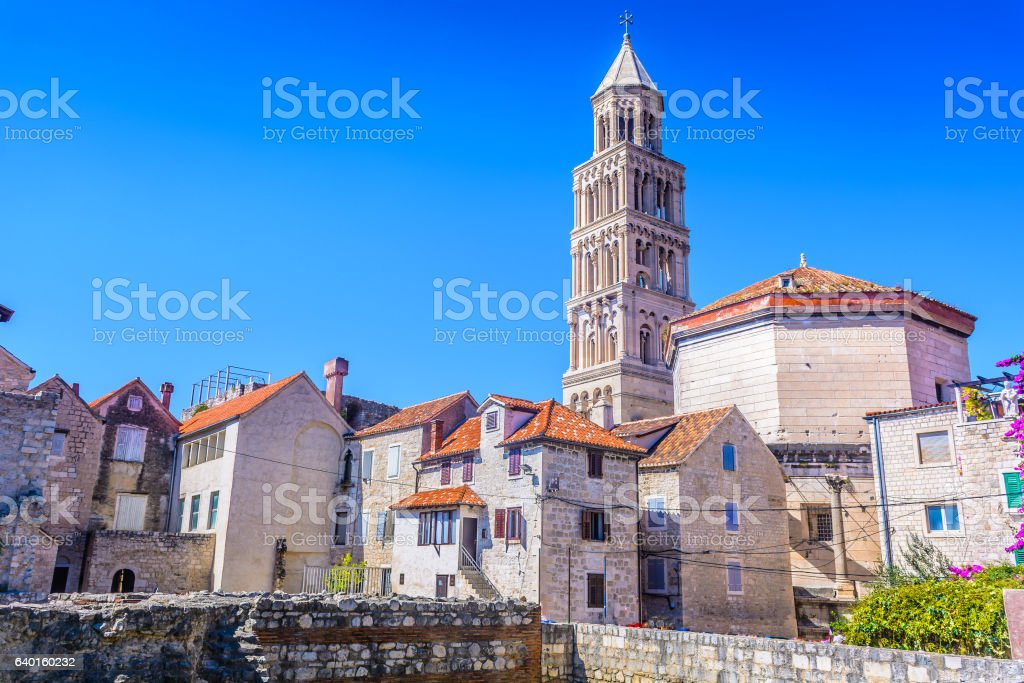 Diocletian Palace Split town. stock photo