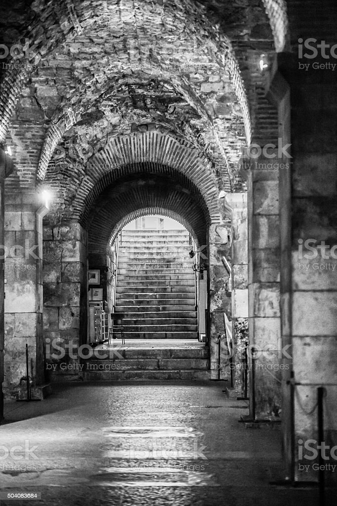 Diocletian's Palace Substructures in Split Croatia stock photo