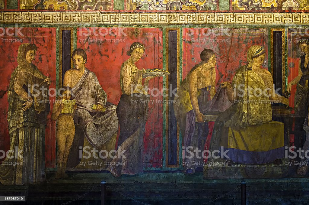 Dionysiac frieze, Villa of Mysteries, Pompeii stock photo