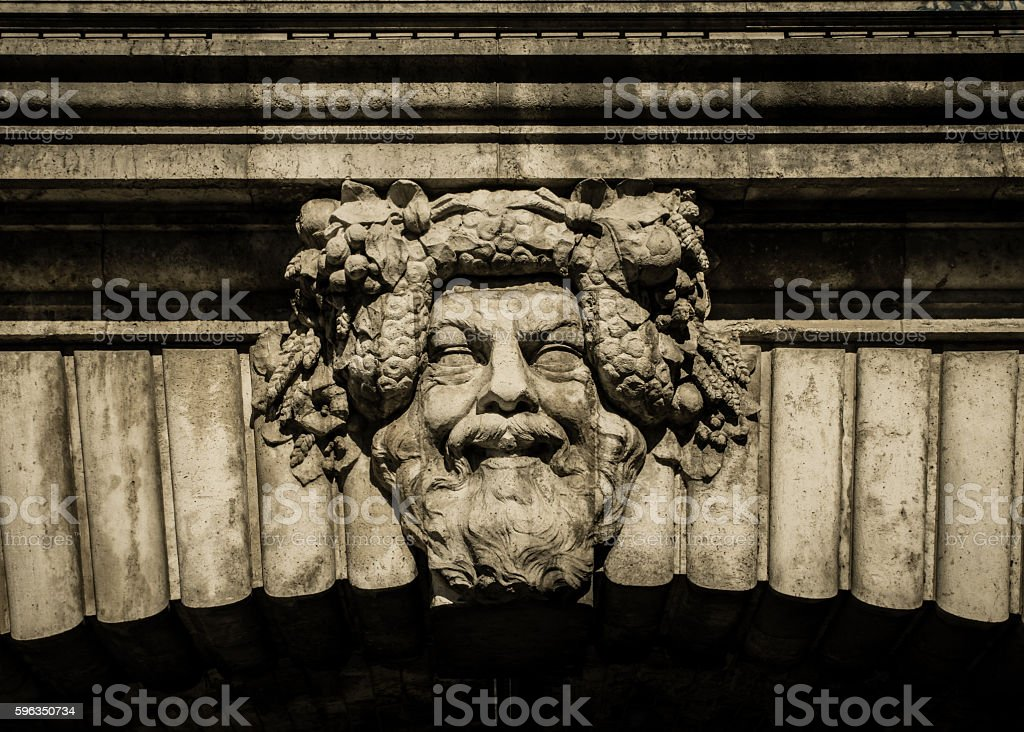 Dionysus - carving on Pont Notre Dame, Paris stock photo