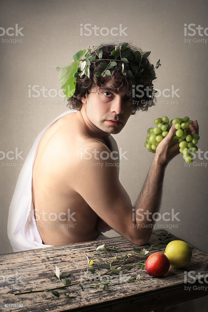 Dionysus posing stock photo