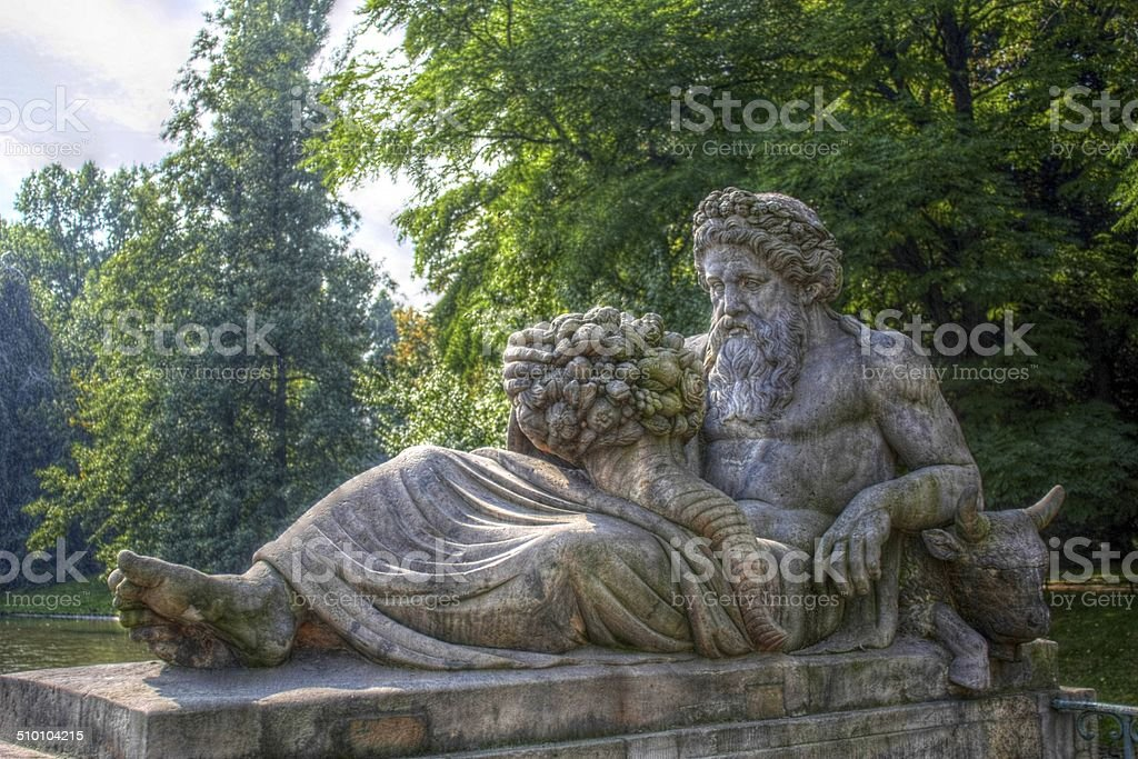 Dionysus statue in Lazienki Park, Poland stock photo