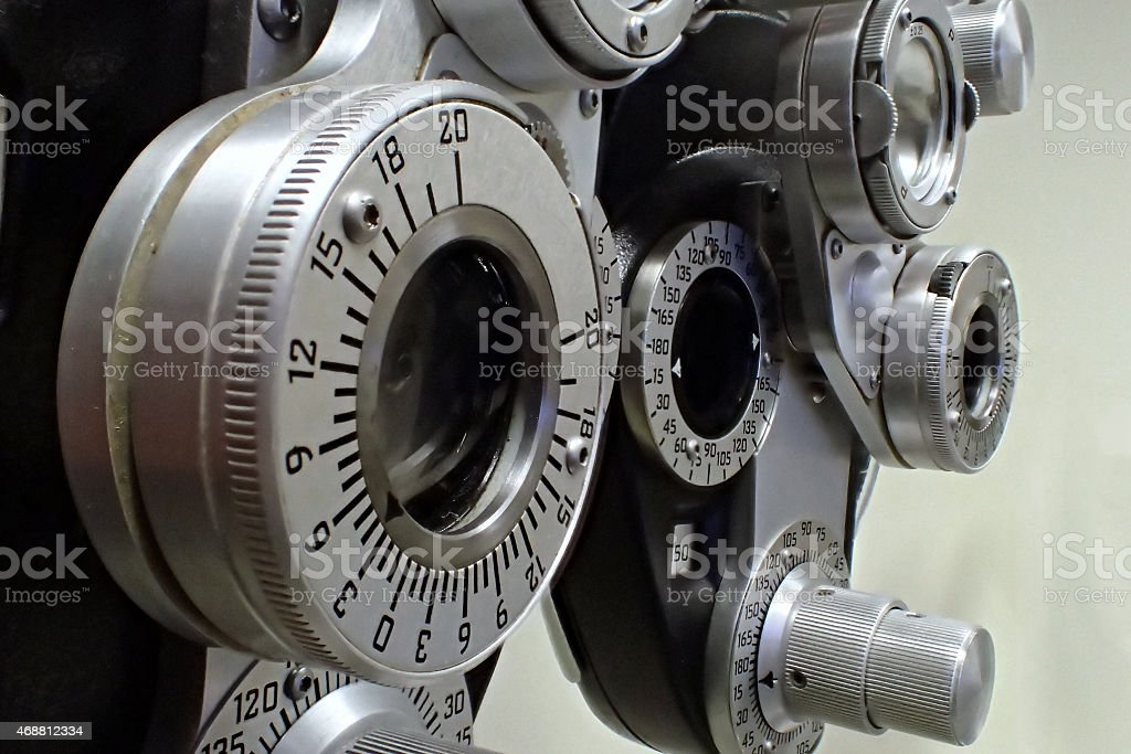 Diopter in an optometrist's (eye doctor) office. stock photo