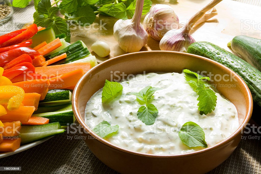 Dip with vegetables stock photo