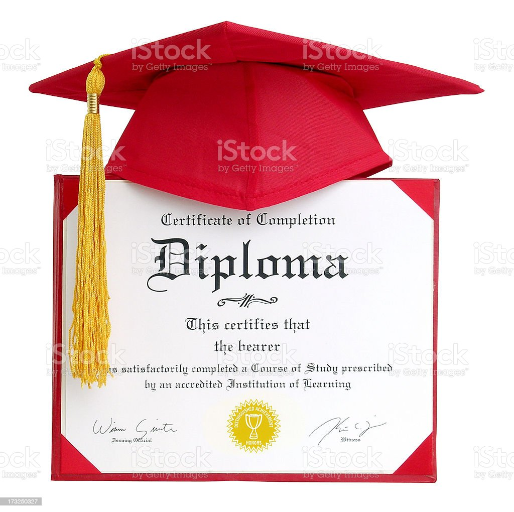 Diploma - Generic with clipping path stock photo