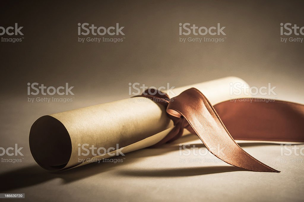 Diploma Scroll with Ribbon - Vintage stock photo