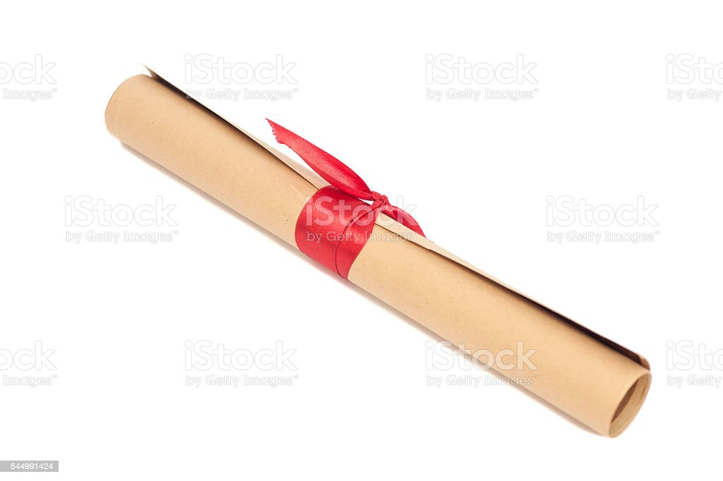 Diploma tied with red ribbon stock photo