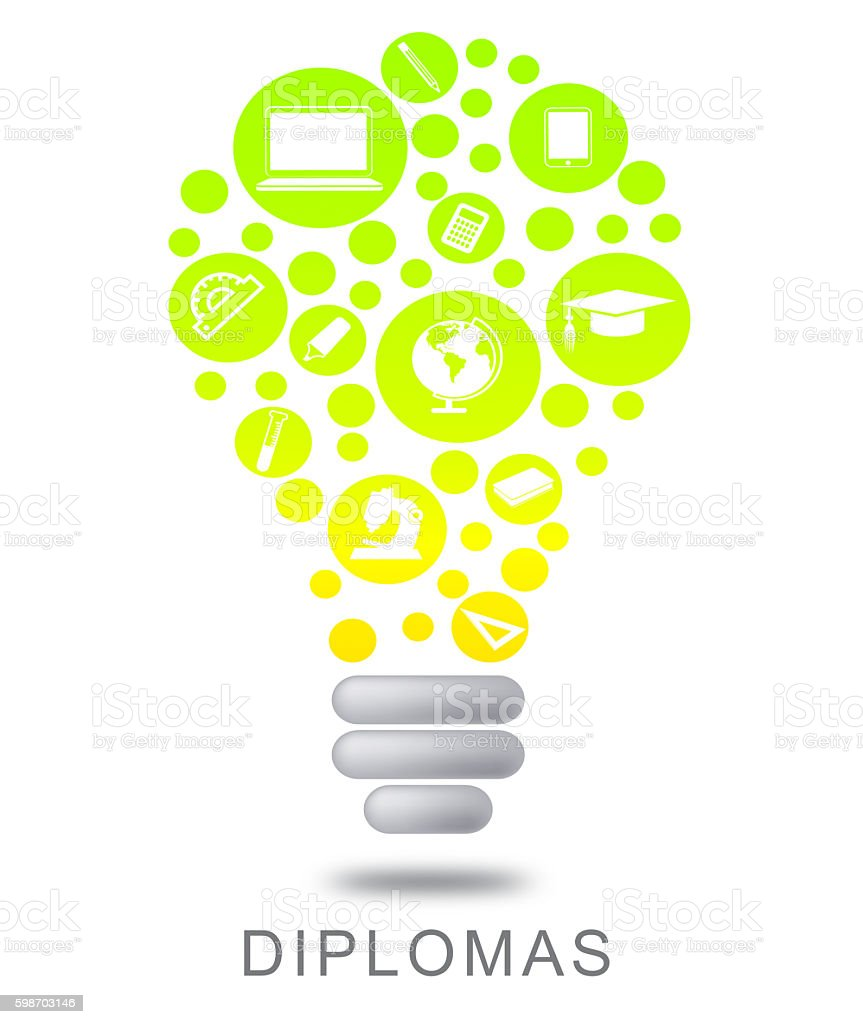Diplomas Lightbulb Means Power Source And Bright stock photo