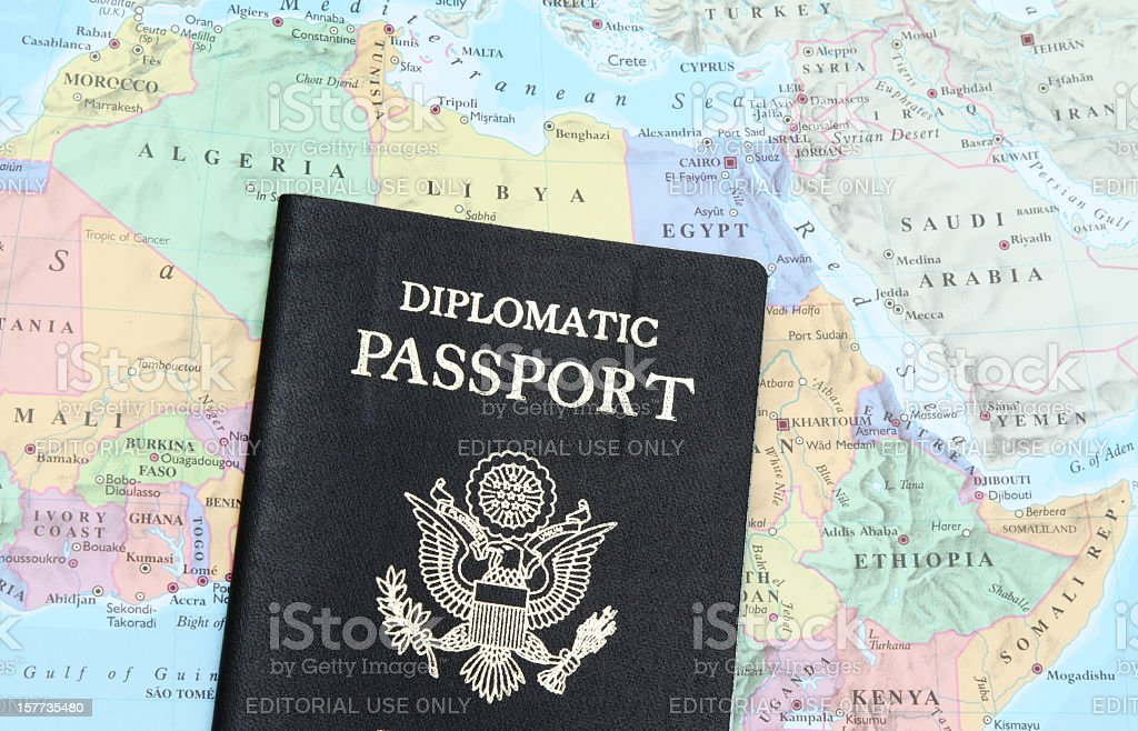 Diplomatic passport on North Africa and Mid East stock photo