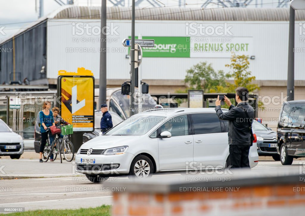 Diplomatic White Volkswagen car during Presidtial offical visit stock photo