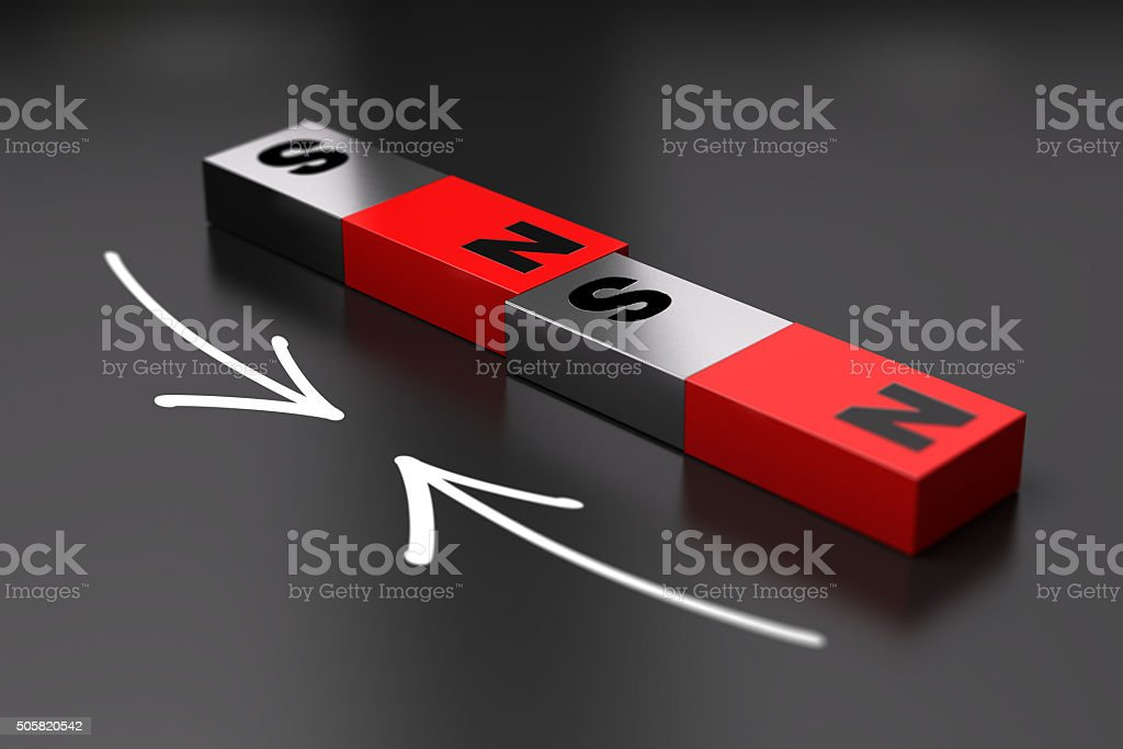 Dipole Magnet principle, Attraction stock photo