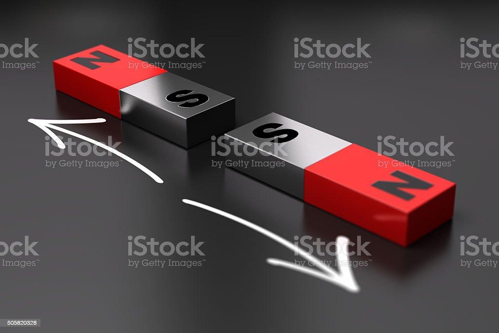 Dipole Magnet principle, Repel stock photo
