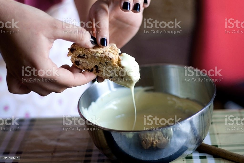 Dipped biscotti stock photo
