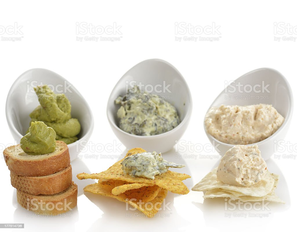 Dips With Chips And Toasts stock photo