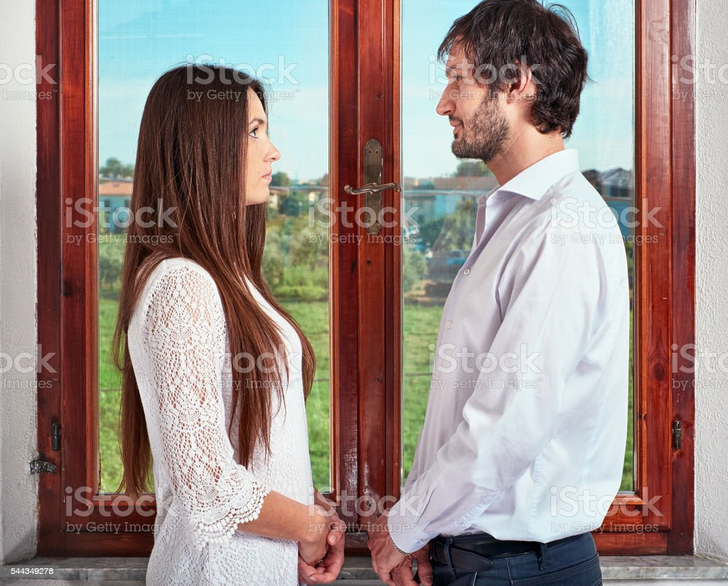Diptych of young couple in love stock photo