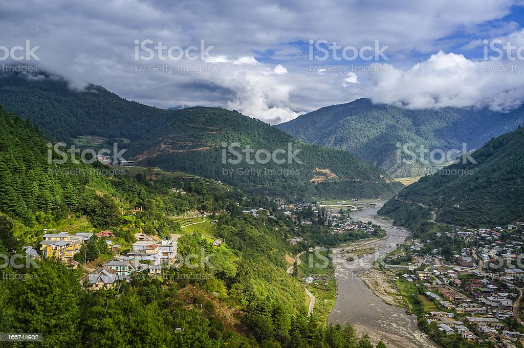 Dirang town, Kameng river, Western Arunachal Pradesh, India stock photo