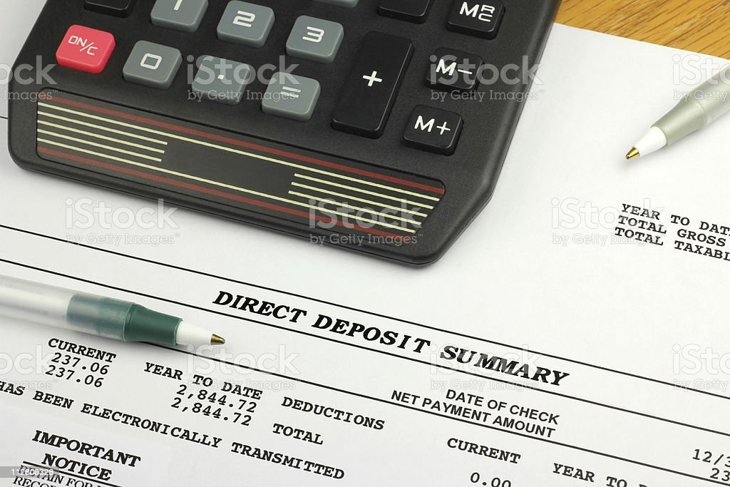 Direct Deposit Summary stock photo
