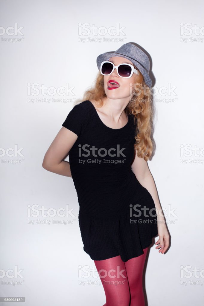 Direct flash portrait of beautiful party girl stock photo