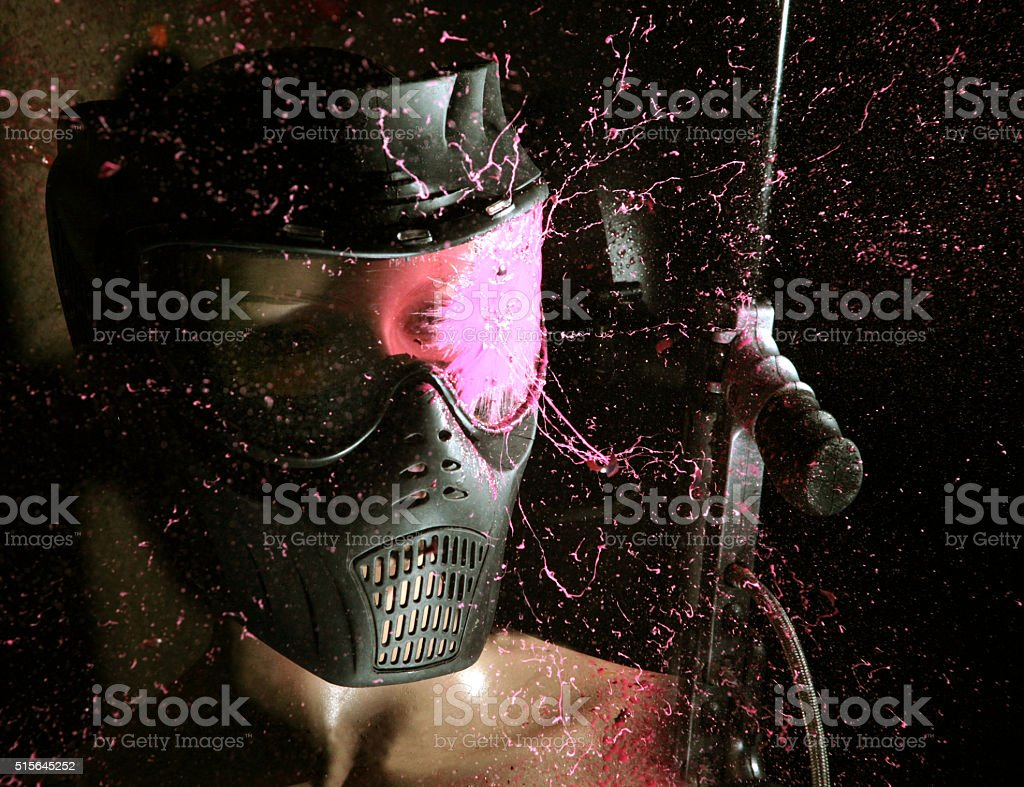 direct hit (paintball game) stock photo