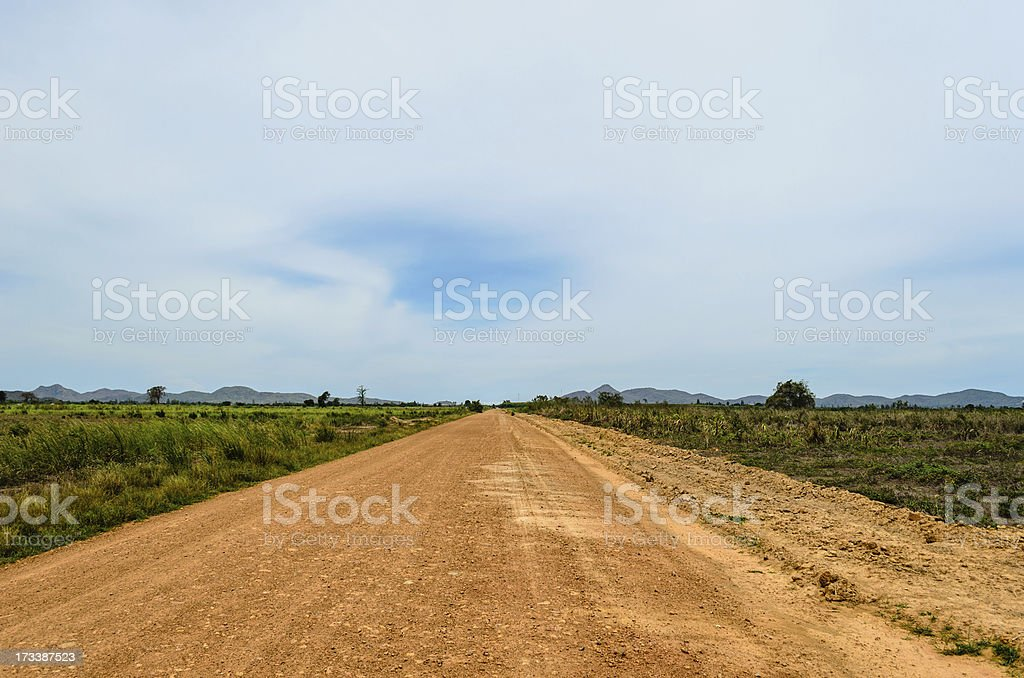 Direct Road in the Plains stock photo