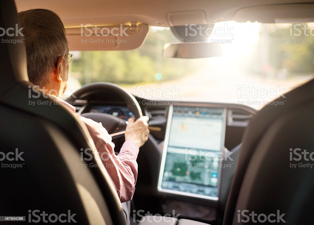 Directing his speed with onboard navigation stock photo