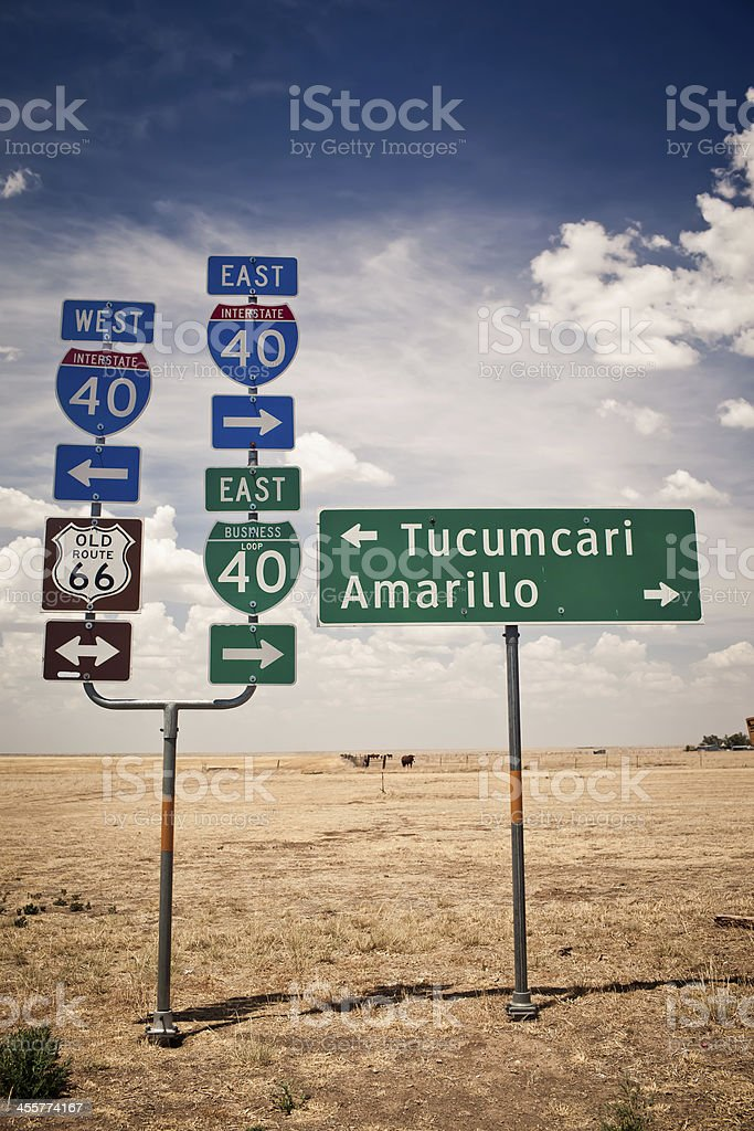 Direction and location signposts on Route 66 stock photo