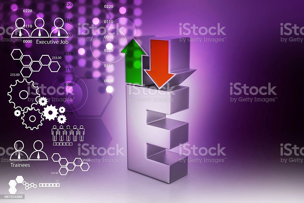 direction arrows green- up and red – down stock photo