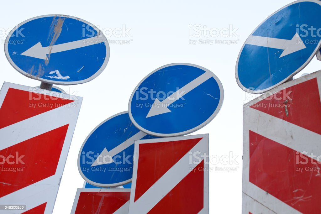 direction arrows traffic signs stock photo