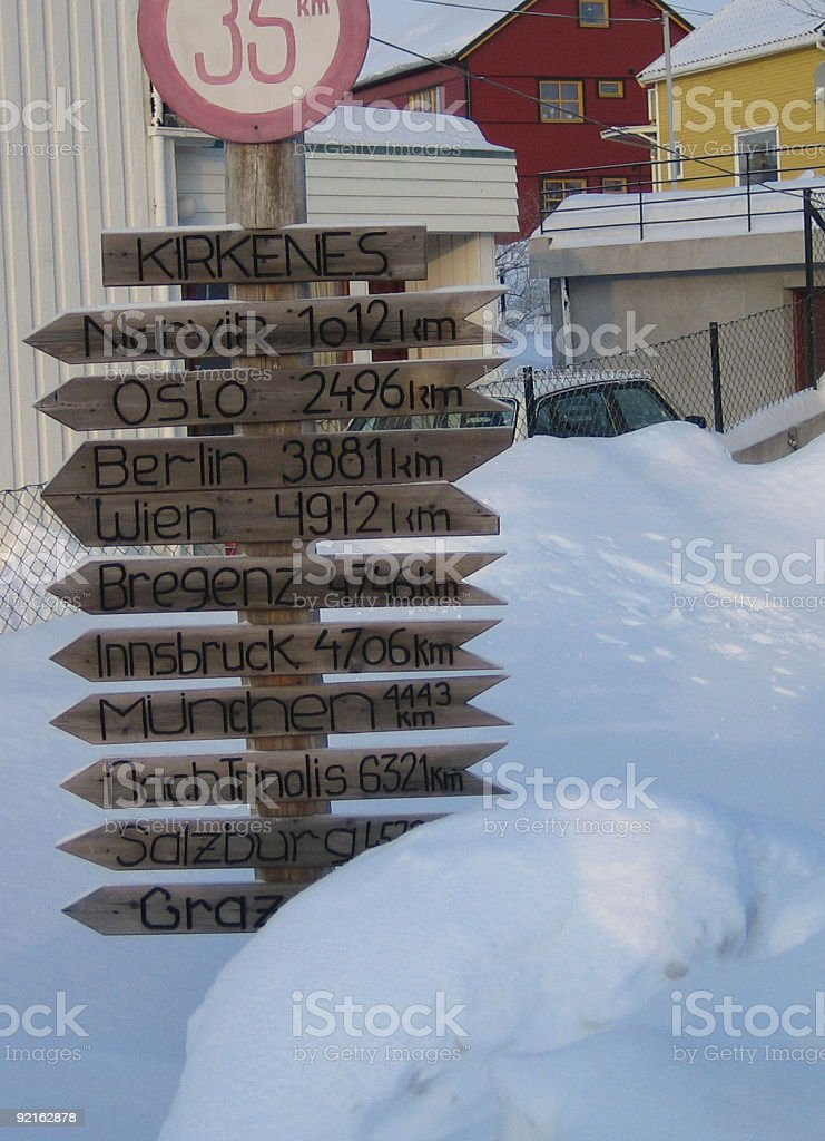 direction indicator in norway royalty-free stock photo