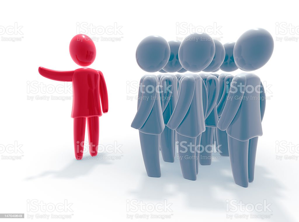 Direction of red person with many grey people stock photo