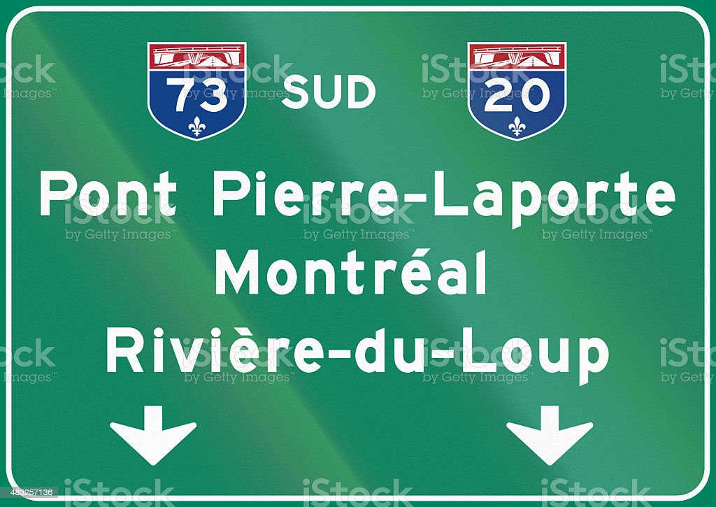 Direction Sign Above Lane in Canada stock photo