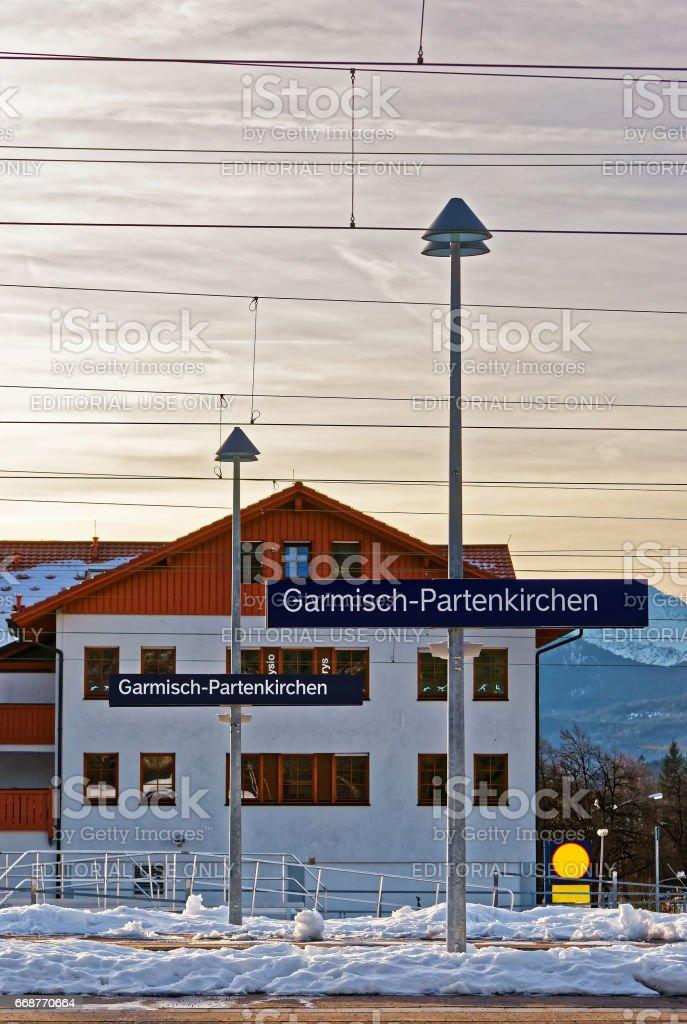 Direction sign at railway train station in Garmisch Partenkirchen stock photo