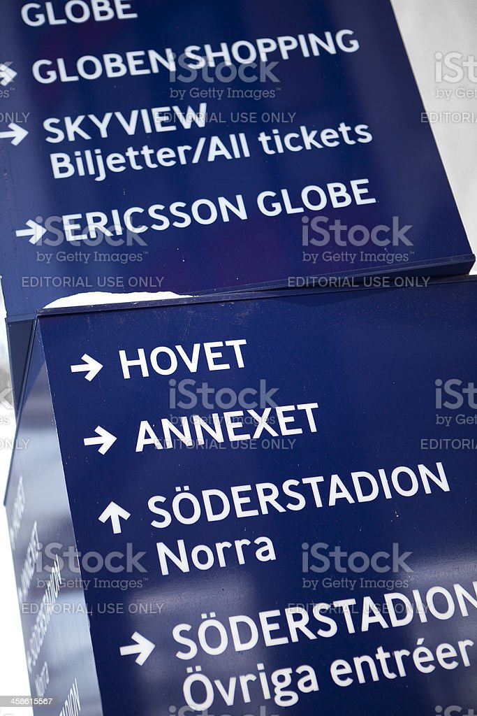 Direction sign at the Ericsson Globe Arena stock photo