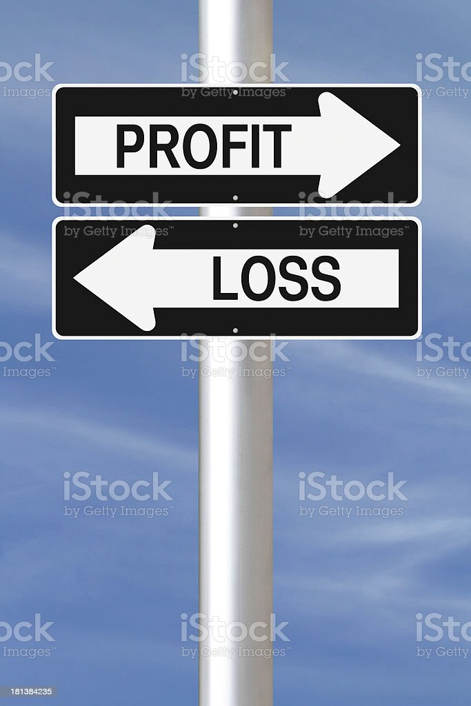 A direction sign for Profit and Loss  stock photo