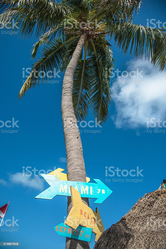 direction sign in Key Largo stock photo