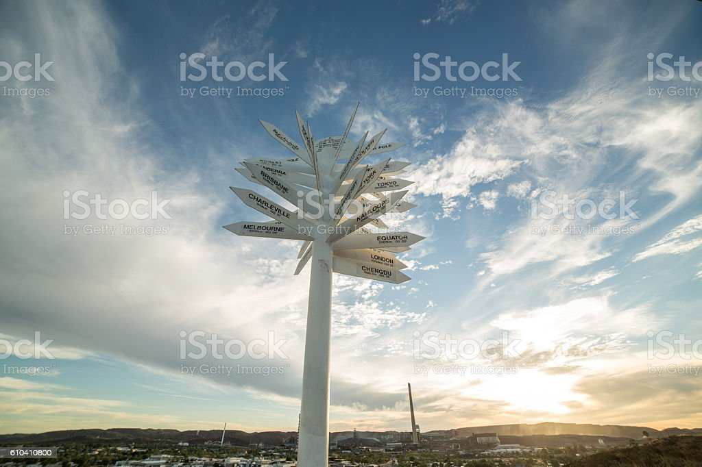 Direction sign indicating world cities and places, Mount Isa stock photo