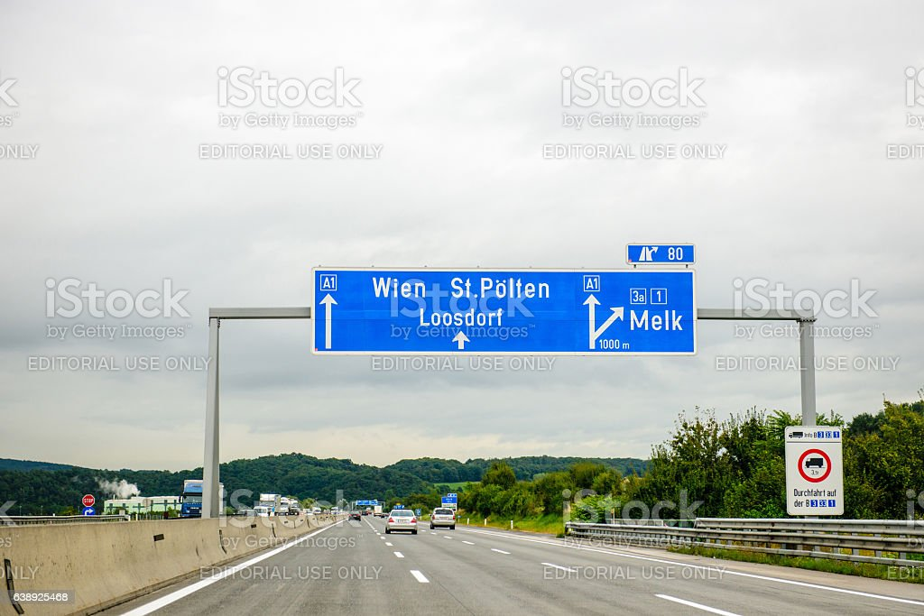 Direction sign on Austrian highway stock photo
