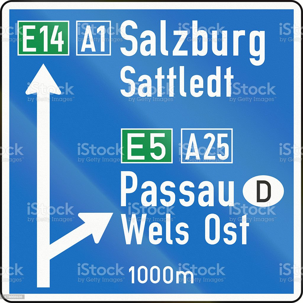Direction Sign On Motorway in Austria stock photo
