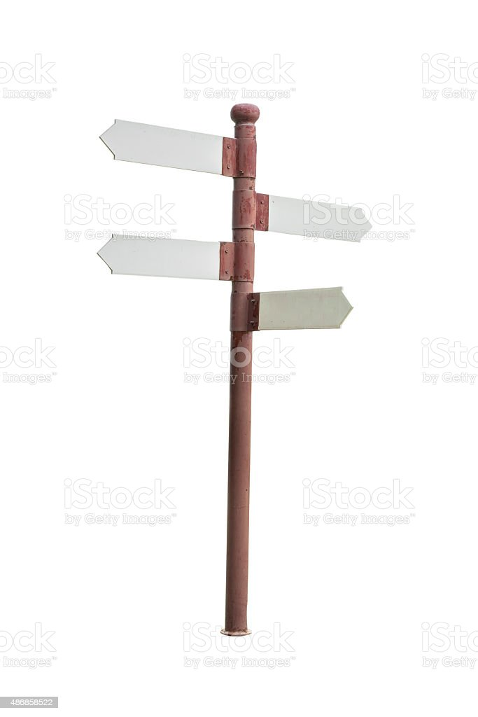 Direction Sign on white background stock photo