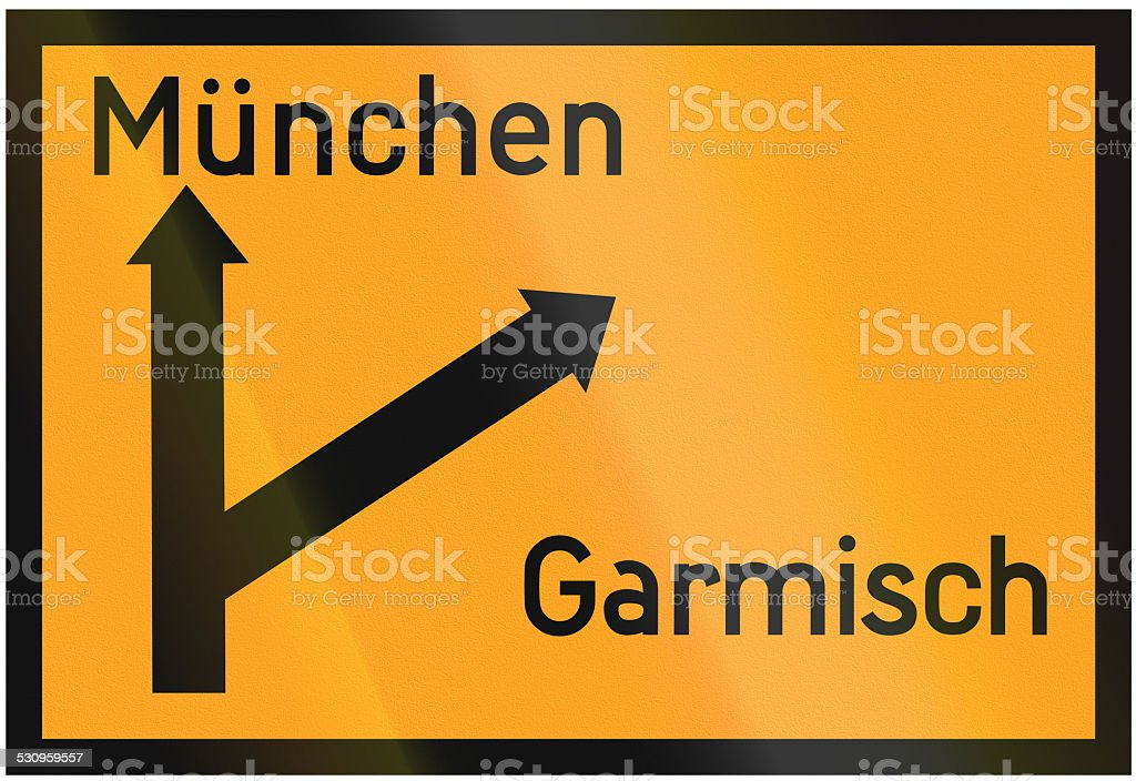 Direction Sign To Munich And Garmisch 1936 stock photo